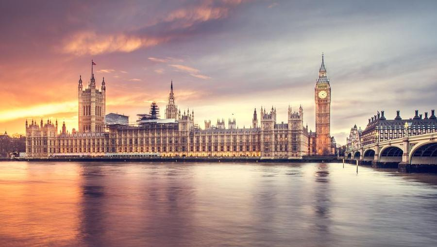 A panoramic view of a London skyline featuring Big Ben.