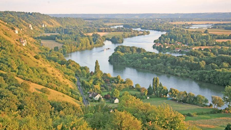 An aerial view of a European Rhine River Cruise.