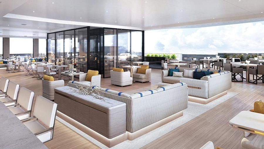 A yacht bar with open space and seating.