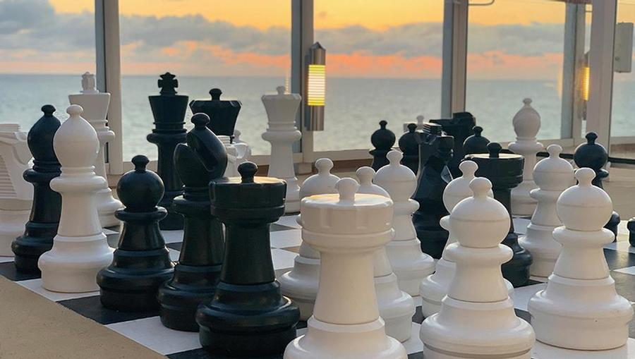 A view of the outdoor giant chess set onboard Norwegian Joy.