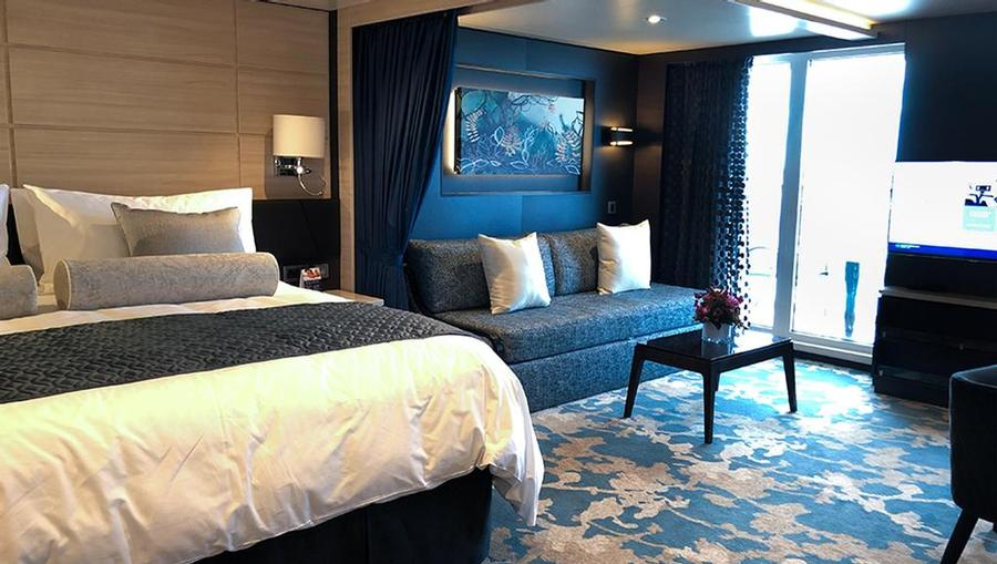 An inside look at one of the Haven Suites onboard Norwegian Joy.