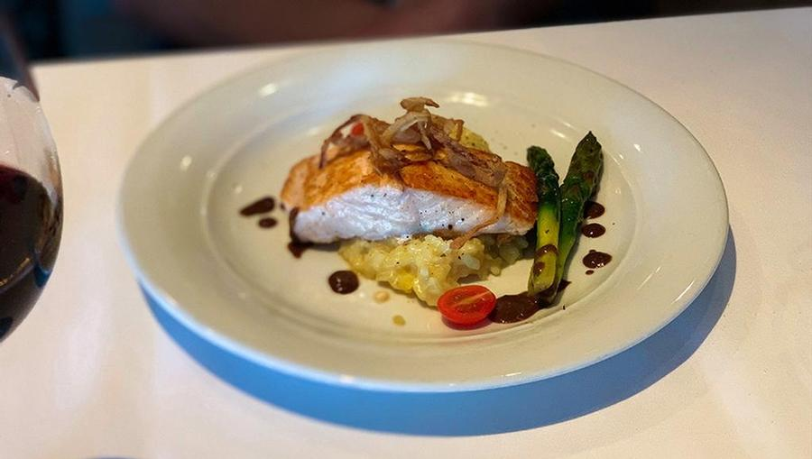 A salmon dish at one of the main restaurants onboard Norwegian Joy.