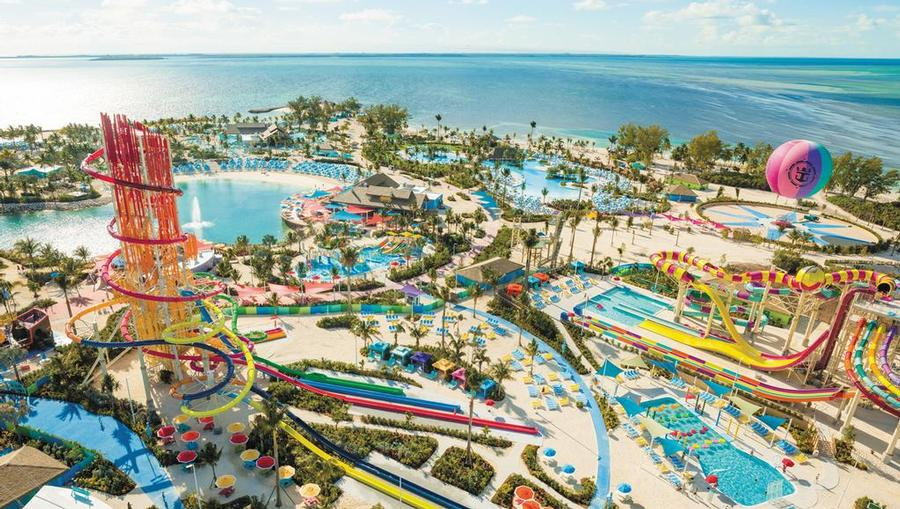 Aerial view of Royal Caribbean's private CocoCay Island