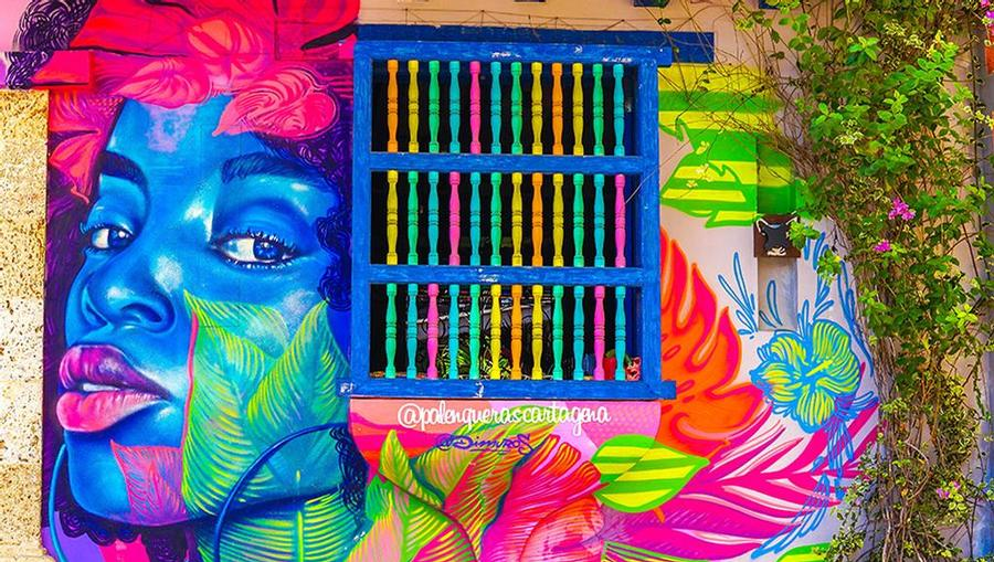 A beautiful mural/ street art in Cartagena, Colombia.
