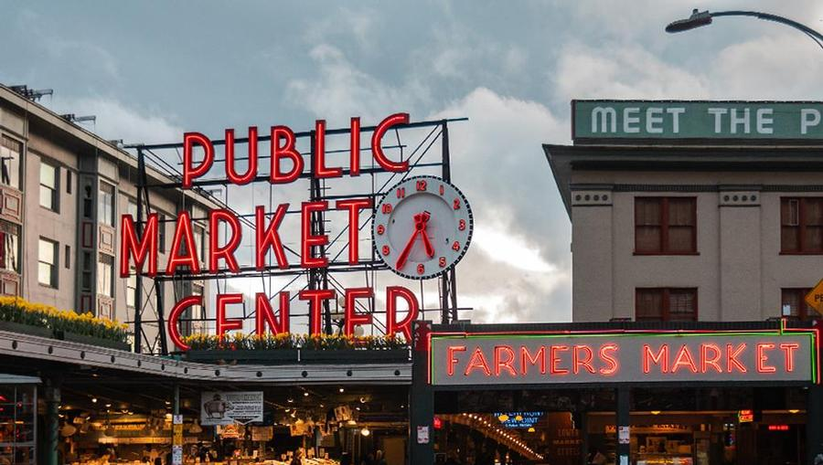 Seattle's Pike Place Market in the twilight lighting.