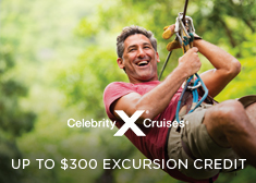 Celebrity: Up to $300 Excursion Credit