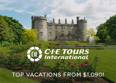CIE Tours: Top Vacations from $1,090!